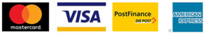 Mastercard, Visa, Postfinance, American express